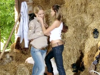 Barn lesbie action around Awesome Blonde gals